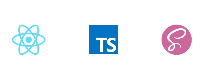 react, typescript, sass logo